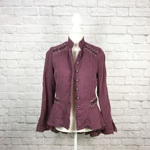 Free People Victorian Lace-up Jacket in Plum
